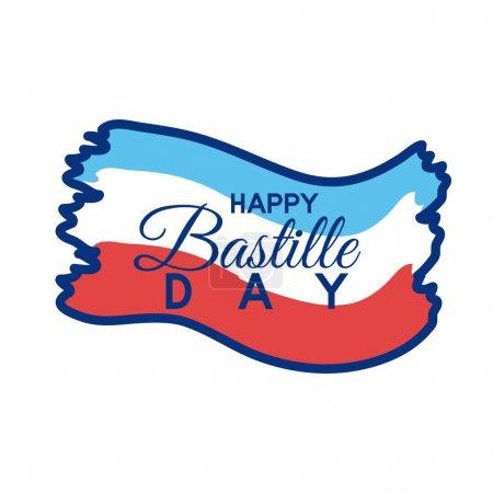 Illustration pour France drapeau et bastille jour lettrage ligne style vectoriel illustration design - image libre de droit