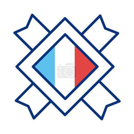 Illustration pour France drapeau timbre ligne style icône vectoriel illustration design - image libre de droit