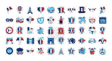 Illustration pour Paquet d'icônes du jour de la Bastille illustration vectorielle - image libre de droit