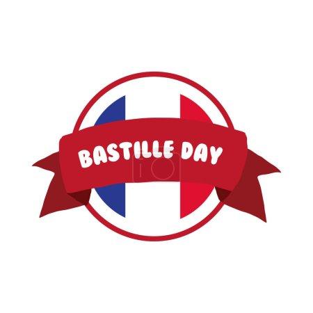 Illustration pour Lettrage jour bastille et ruban dessin à la main dessin vectoriel illustration design - image libre de droit