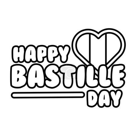 Illustration pour Lettrage du jour de la bastille avec illustration vectorielle de style ligne de coeur - image libre de droit