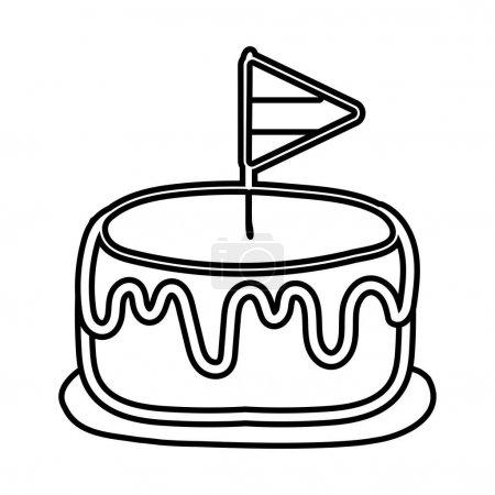Illustration pour Drapeau france dans le gâteau ligne style icône vectoriel illustration design - image libre de droit