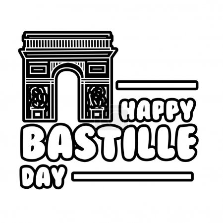 Illustration pour Lettrage du jour de la bastille avec illustration vectorielle de style ligne Arc de Triomphe - image libre de droit