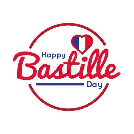 Illustration pour Lettrage du jour de la bastille avec illustration vectorielle de style dessin à la main coeur - image libre de droit