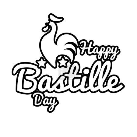 Illustration pour Lettrage du jour de la bastille avec illustration vectorielle style ligne de coq - image libre de droit