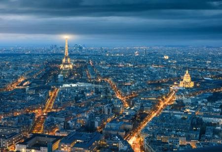 Photo for View of the Eiffel tower at night from Tour Montparnasse, Paris. - Royalty Free Image