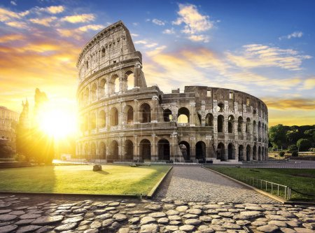 Photo for View of Colosseum in Rome and morning sun, Italy, Europe. - Royalty Free Image