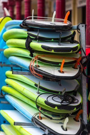 Surf boards in stack