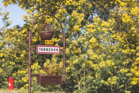 Road sign of Tanneron in France