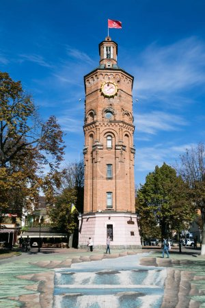 Vinnytsia, Ukraine - OCTOBER 03 2015: Old fire tower with clock, Vinnytsia, Ukraine