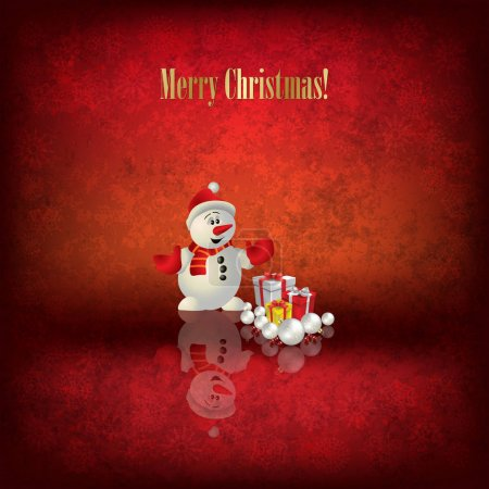 Illustration for Abstract illustration with Christmas tree Santa Claus and snowman on red background - Royalty Free Image