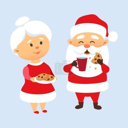 Illustration pour Le Père Noël mange des biscuits et boit du lait avec sa femme. Mme Père Noël traite et nourrit les biscuits du Père Noël. Tradition de Noël. Couple mignon de la famille du Père Noël. Mère et Père Noël - image libre de droit