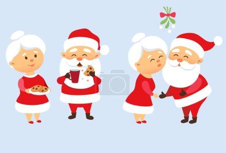 Illustration pour Ensemble de Noël familial du Père Noël. Le Père Noël embrasse sa femme Mme le Père Noël sous le gui. Tradition romantique de Noël. Père Frost mangeant un cookie et buvant du lait. Conception de personnage de Noël - image libre de droit