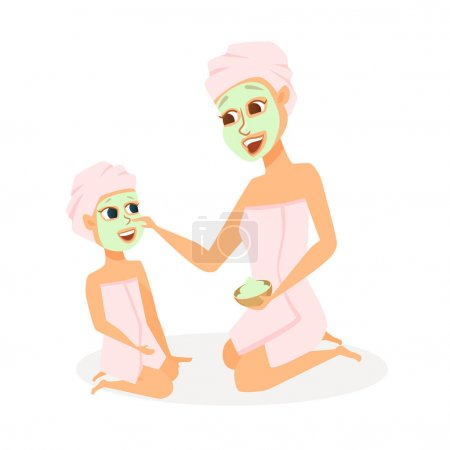 Illustration for Mother and daughter in spa. Mom and child make face mask in bathroom. Family beauty treatment leisure. Women and girl dressed in towels in cosmetic salon of hotel. Cartoon characters isolated on white - Royalty Free Image