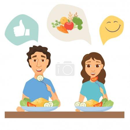 Illustration pour Couple manger des aliments sains. Homme et femme déjeunant, dînant ou déjeunant. Infographies nutritionnelles et diététiques. Les personnes minces à la maison ou au restaurant - image libre de droit