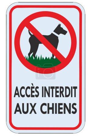 keine Hunde erlaubt französisch fr Warnschild, Accces interdit aux chiens, isolierte große detaillierte Verbotsbeschilderung Makro Nahaufnahme, vertikale Metall-Hinweistafel, roter Rahmen, metallische Maststange