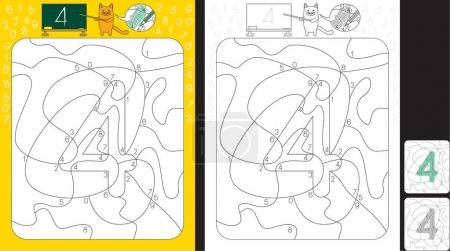 Illustration for Worksheet for practicing number recognition and fine motor skills - color only fields with number four - Royalty Free Image