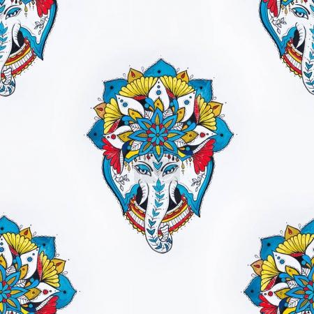 Seamless drawing of an elephants head in a mandala on a white background.