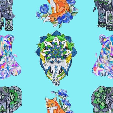 Photo pour Un motif sans couture, éléphant, renard et lion sur fond turquoise . - image libre de droit