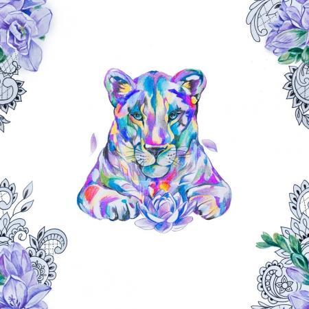 Photo pour Modèle sans couture d'un lion multicolore et des branches avec des fleurs sur un fond blanc . - image libre de droit