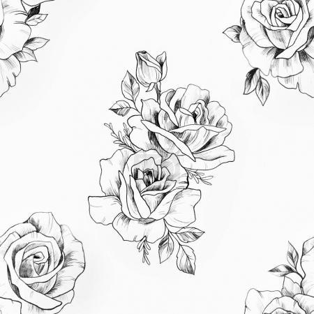 Photo pour Motif sans couture d'une rose noire et blanche sur fond blanc . - image libre de droit