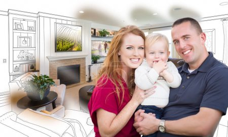 Military Family In Front of Living Room Drawing Photo Combinatio