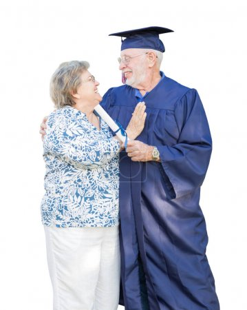 Senior Adult Man Graduate in Cap and Gown Being Congratulated By
