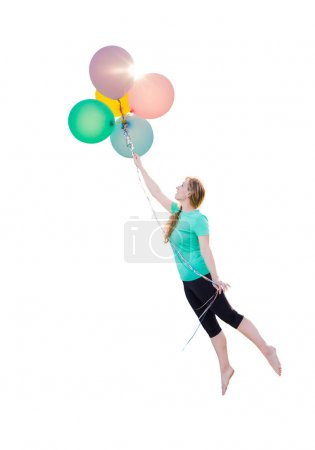 Young Girl Being Carried Up and Away By Balloons That She Is Holding Isolated On A White Background.