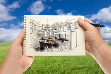 Male Hands Holding Pen and Pad of Paper Up with Custom Kitchen I