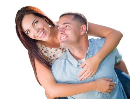 Mixed Race Romantic Military Couple Piggyback Portrait Isolated