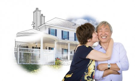 Happy Chinese Senior Couple Kissing In Front of House Drawing on White.