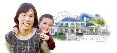 Chinese Mother and Mixed Race Child In Front of House Drawing on White.