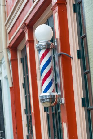 Babershop Pole On Store Front