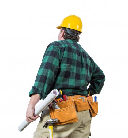 Male Contractor with Hard Hat and Tool Belt Looking Away Isolated on a White Background.