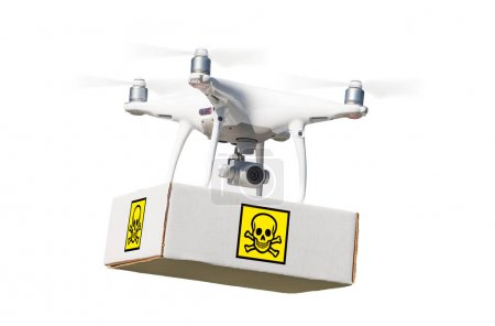 Unmanned Aircraft System (UAV) Quadcopter Drone Carrying Package With Poison Symbol Label On White.