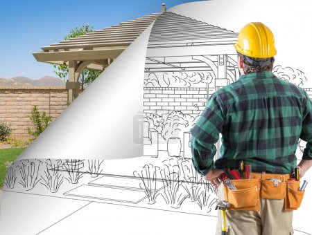 Contractor Facing Pergola Drawing with Page Flipping to Completed Photo Behind