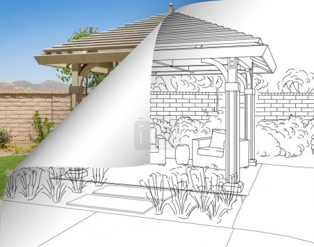 Pergola Drawing with Page Flipping to Completed Photo Behind.