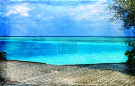 Photo for Vintage style image of beautiful tropical paradise island, the Maldives - Royalty Free Image