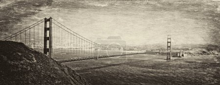 Photo for Vintage style image of the Golden Gate Bridge, San Francisco, California, USA. - Royalty Free Image