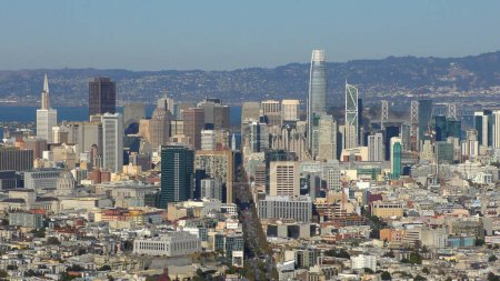 Photo for Market Street and the financial district of San Francisco as seen from Twin Peaks, California, circa October 2018 - Royalty Free Image