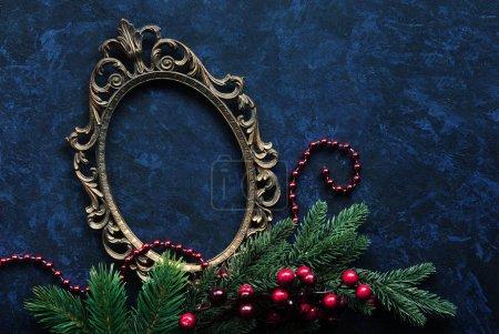 Vintage oval frame and christmas decor