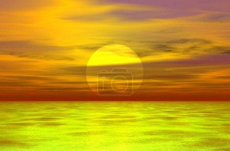 Photo pour Illustration couleur 3D coucher de soleil - image libre de droit