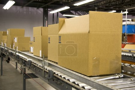 Boxes Riding on a Conveyor Belt for Shipping