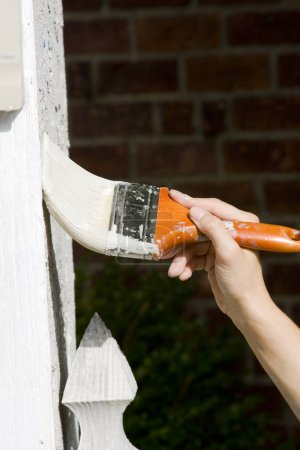 Woman Making Home Improvements By Painting House