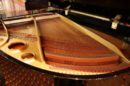Inside of Grand Piano close up shot