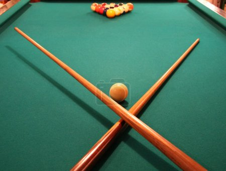Billiards Table with Racked Balls