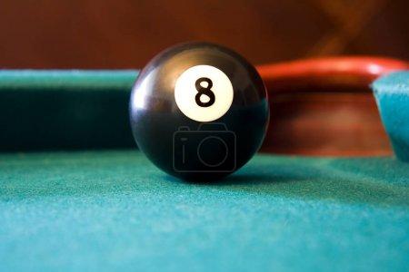 Eight Ball on Billiards Table