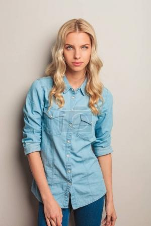 portrait of a young casual blonde woman