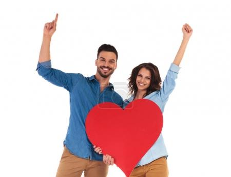 happy couple celebrating love on white background