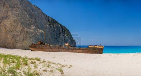 Famous shipwreck on Navagio Beach, Zakynthos